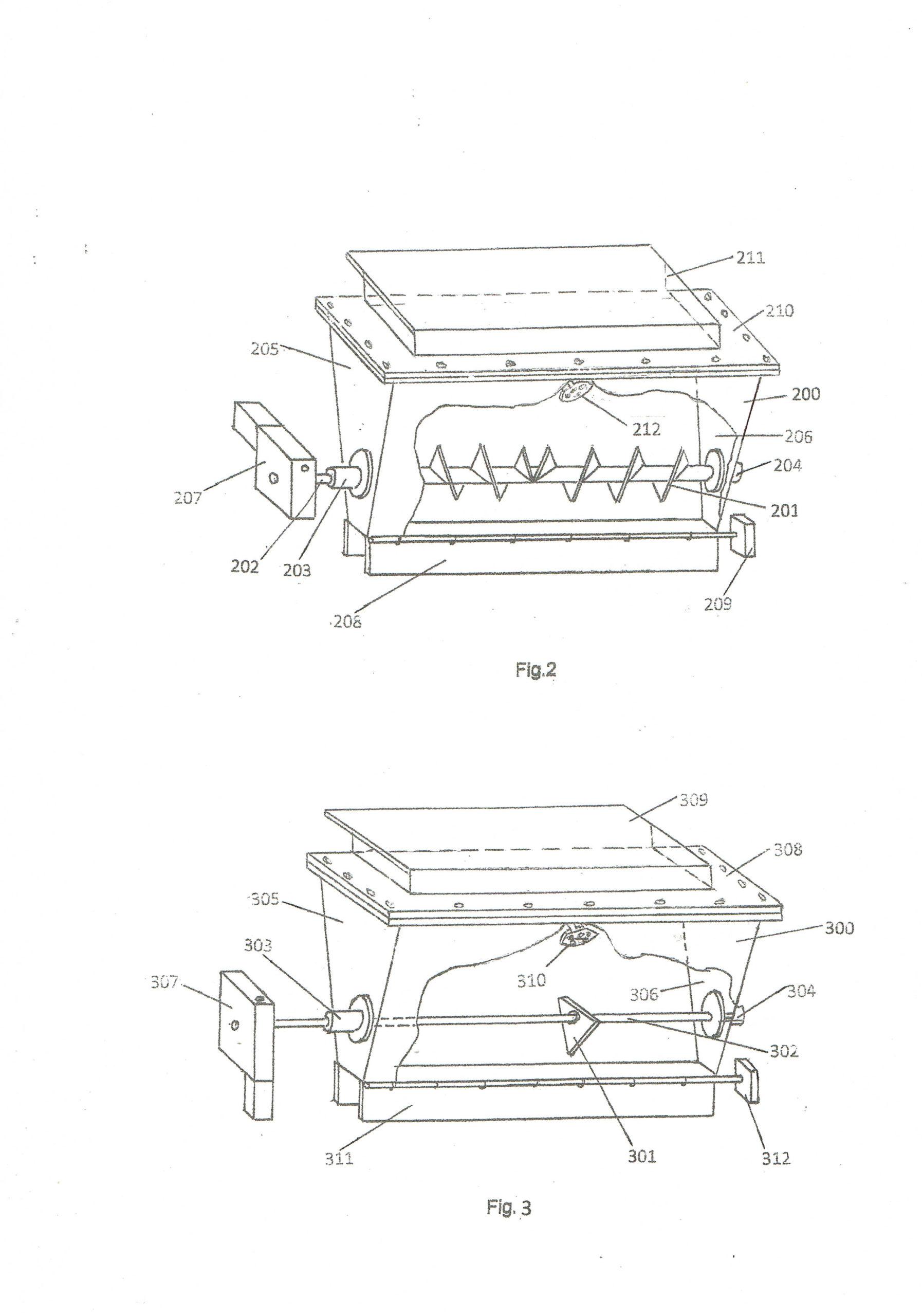 Рис. 2. Схематическая конструкция питательного устройства с мешалкой винтового типа; Рис. 3. Схематическая конструкция питательного устройства с мешалкой лопаточного типа